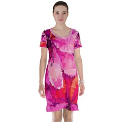 Geometric Magenta Garden Short Sleeve Nightdress