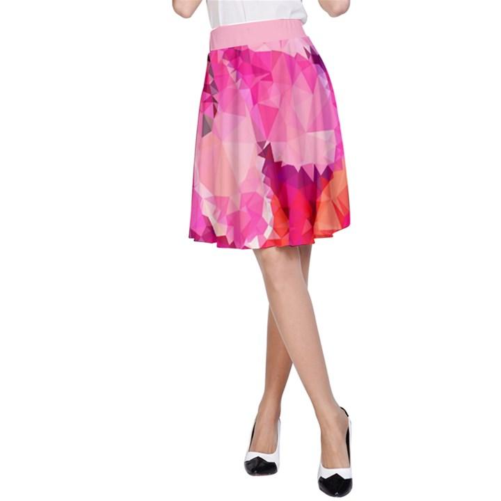 Geometric Magenta Garden A-Line Skirt