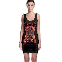 Alphabet Shirt Sleeveless Bodycon Dress
