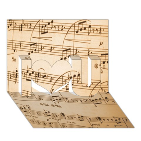 Music Notes Background I Love You 3D Greeting Card (7x5)