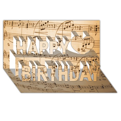 Music Notes Background Happy Birthday 3D Greeting Card (8x4)