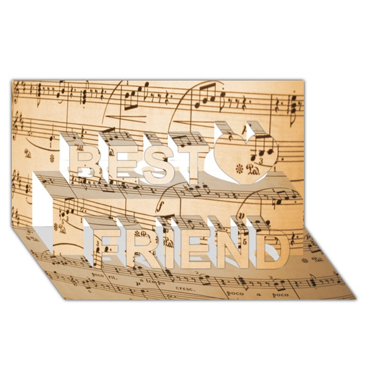 Music Notes Background Best Friends 3D Greeting Card (8x4)