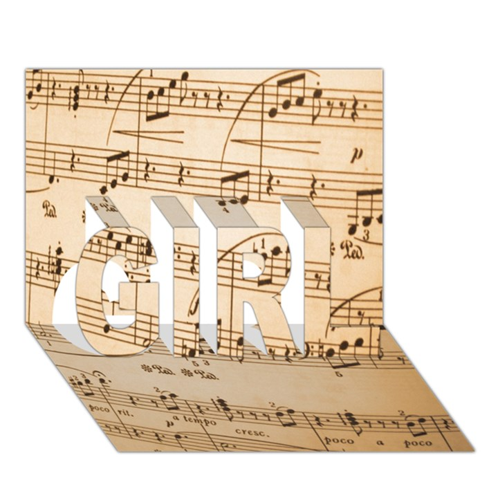 Music Notes Background GIRL 3D Greeting Card (7x5)