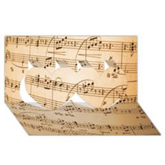 Music Notes Background Twin Hearts 3D Greeting Card (8x4)