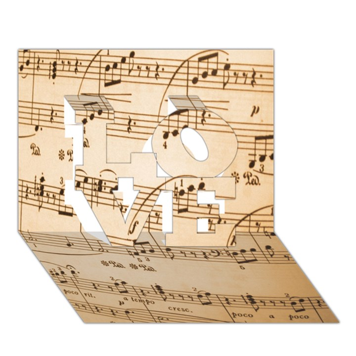 Music Notes Background LOVE 3D Greeting Card (7x5)