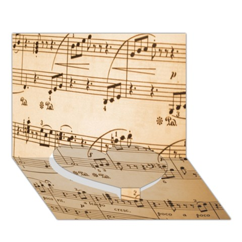 Music Notes Background Heart Bottom 3D Greeting Card (7x5)