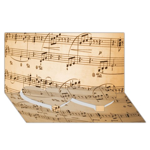 Music Notes Background Twin Heart Bottom 3D Greeting Card (8x4)