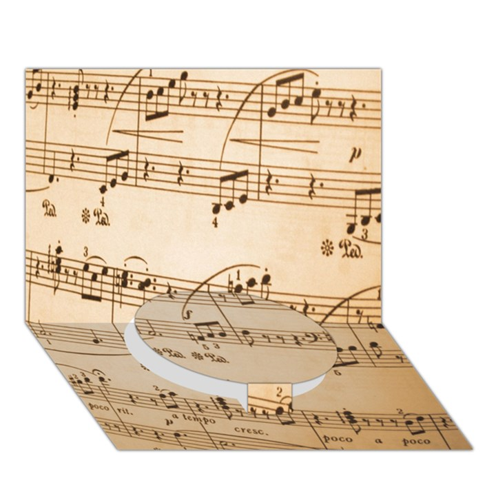 Music Notes Background Circle Bottom 3D Greeting Card (7x5)