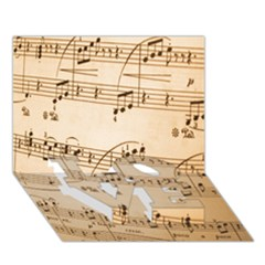 Music Notes Background LOVE Bottom 3D Greeting Card (7x5)
