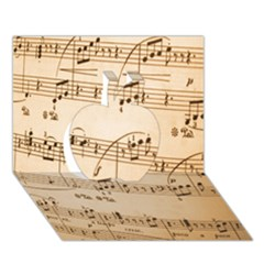 Music Notes Background Apple 3D Greeting Card (7x5)