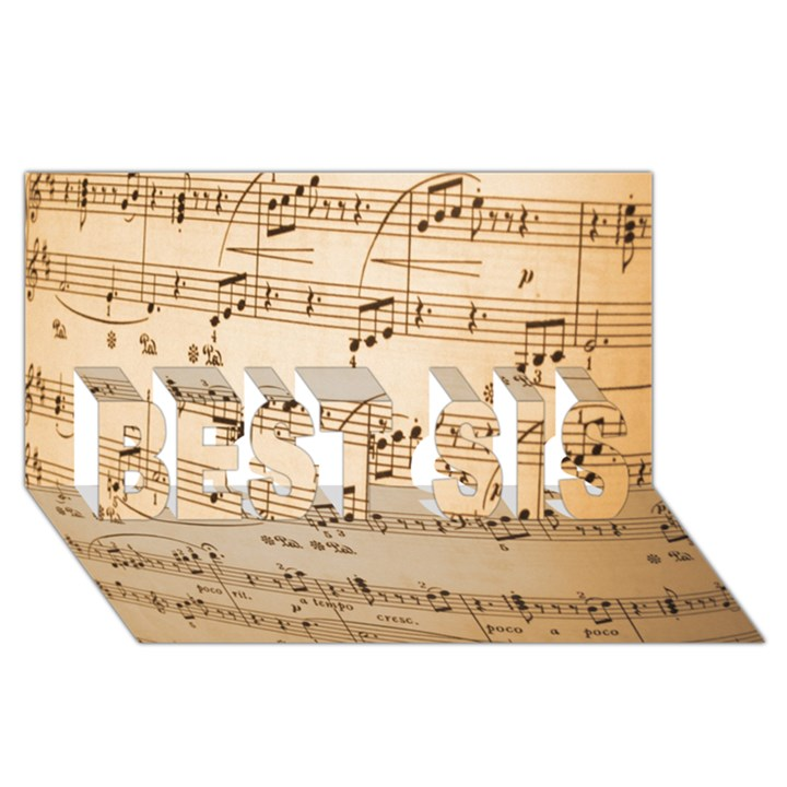 Music Notes Background BEST SIS 3D Greeting Card (8x4)