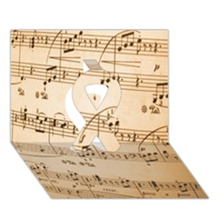 Music Notes Background Ribbon 3D Greeting Card (7x5)