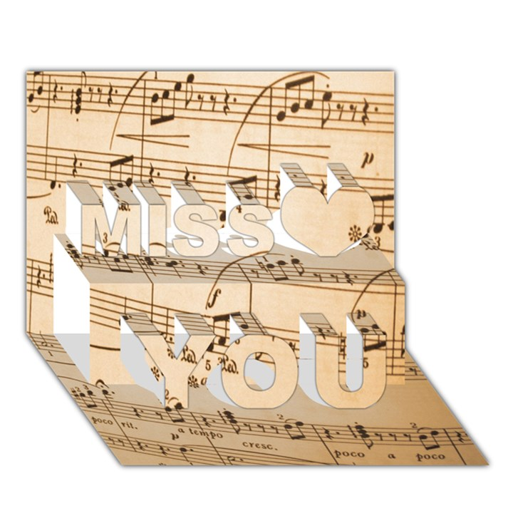 Music Notes Background Miss You 3D Greeting Card (7x5)