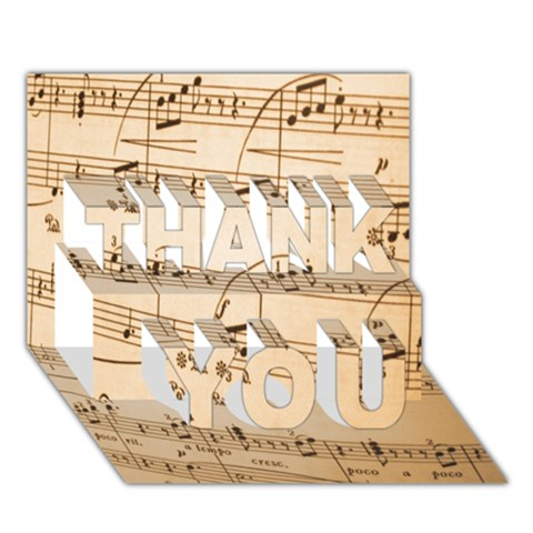 Music Notes Background THANK YOU 3D Greeting Card (7x5)