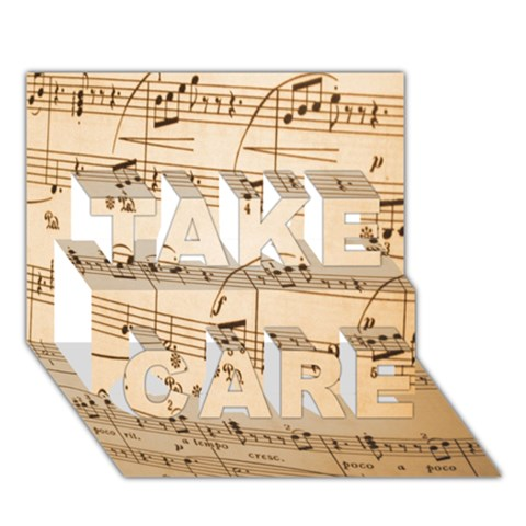 Music Notes Background TAKE CARE 3D Greeting Card (7x5)
