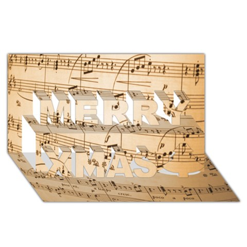 Music Notes Background Merry Xmas 3D Greeting Card (8x4)
