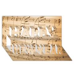 Music Notes Background Happy New Year 3D Greeting Card (8x4)