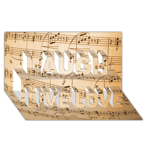 Music Notes Background Laugh Live Love 3D Greeting Card (8x4)