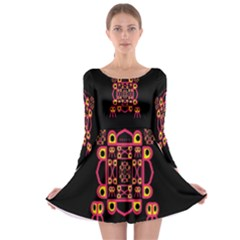 Alphabet Shirt Long Sleeve Skater Dress