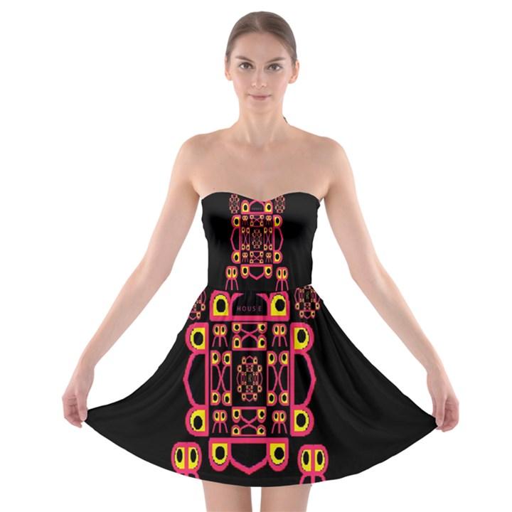 Alphabet Shirt Strapless Bra Top Dress
