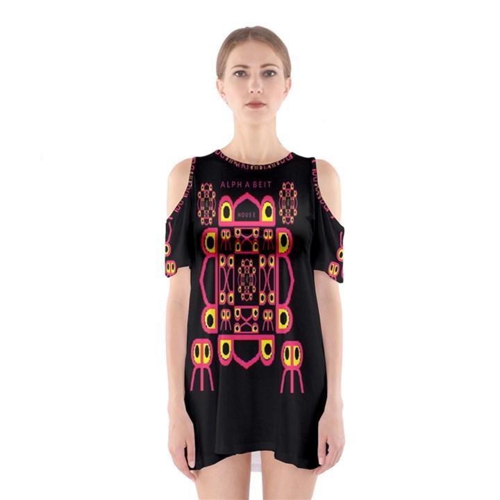Alphabet Shirt Cutout Shoulder Dress