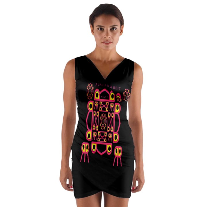 Alphabet Shirt Wrap Front Bodycon Dress