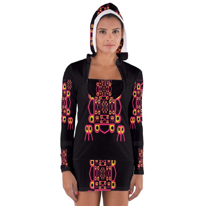Alphabet Shirt Women s Long Sleeve Hooded T-shirt