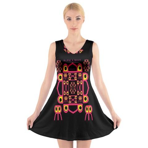 Alphabet Shirt V-Neck Sleeveless Skater Dress