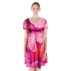 Geometric Magenta Garden Short Sleeve V-neck Flare Dress