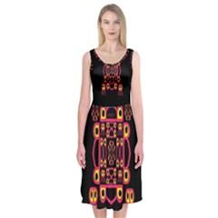 Alphabet Shirt Midi Sleeveless Dress