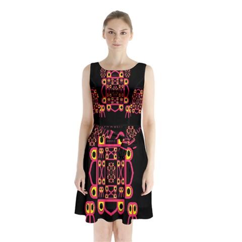 Alphabet Shirt Sleeveless Chiffon Waist Tie Dress