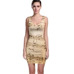 Music Notes Background Sleeveless Bodycon Dress