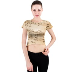 Music Notes Background Crew Neck Crop Top