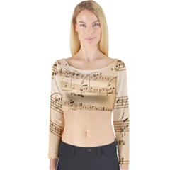 Music Notes Background Long Sleeve Crop Top