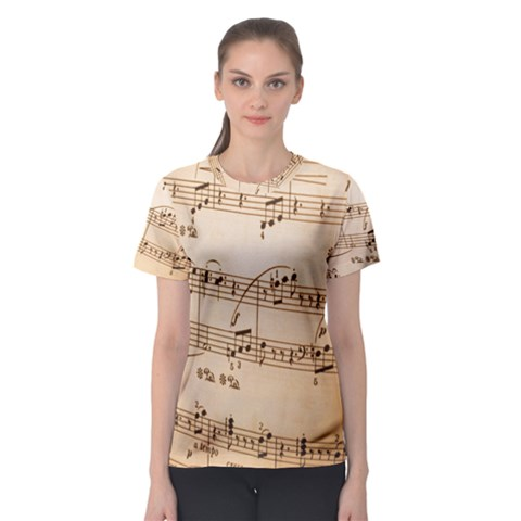 Music Notes Background Women s Sport Mesh Tee