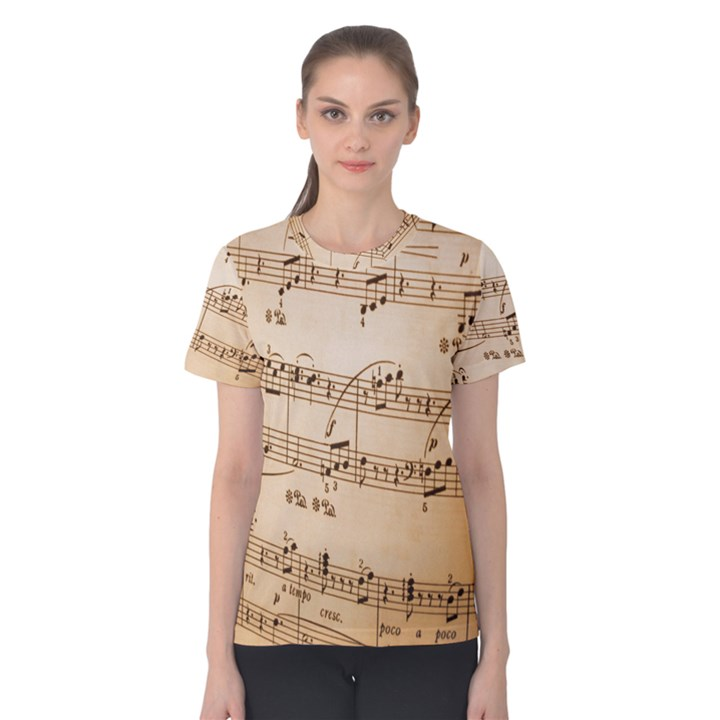 Music Notes Background Women s Cotton Tee