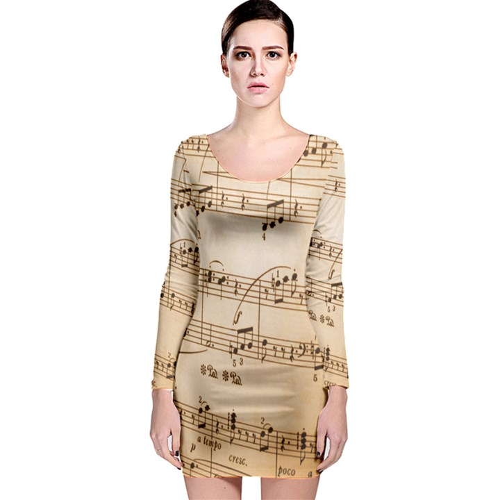 Music Notes Background Long Sleeve Bodycon Dress