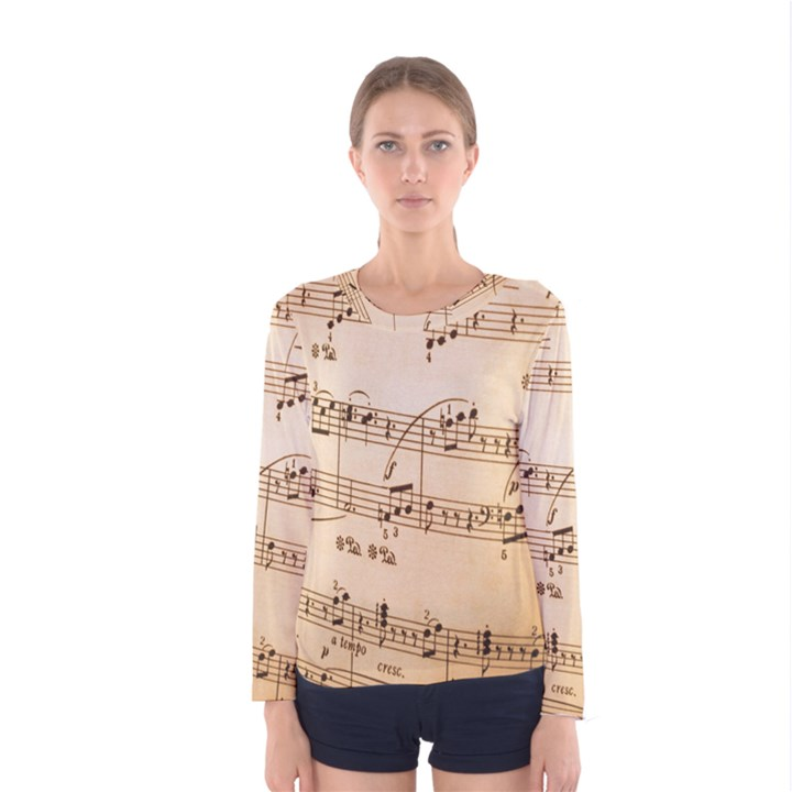 Music Notes Background Women s Long Sleeve Tee