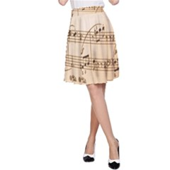 Music Notes Background A-Line Skirt