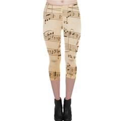 Music Notes Background Capri Leggings