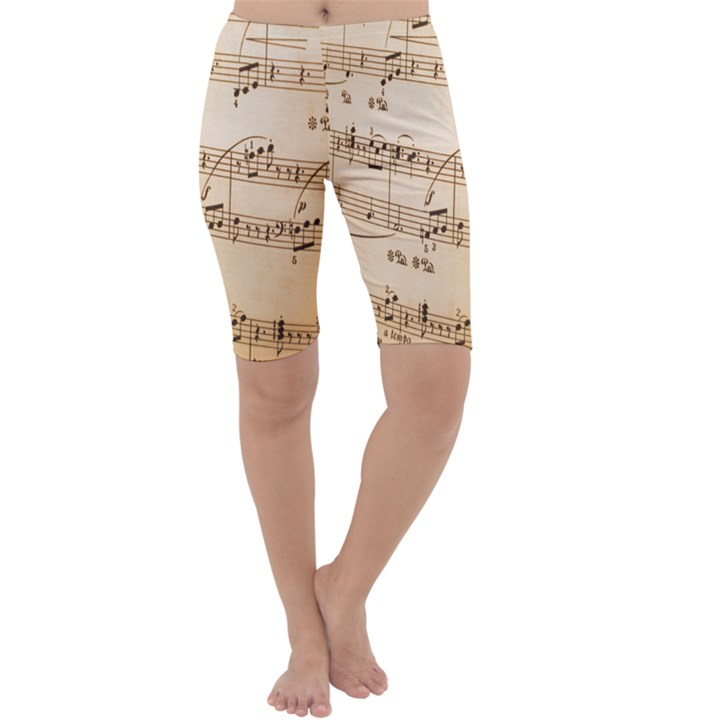 Music Notes Background Cropped Leggings