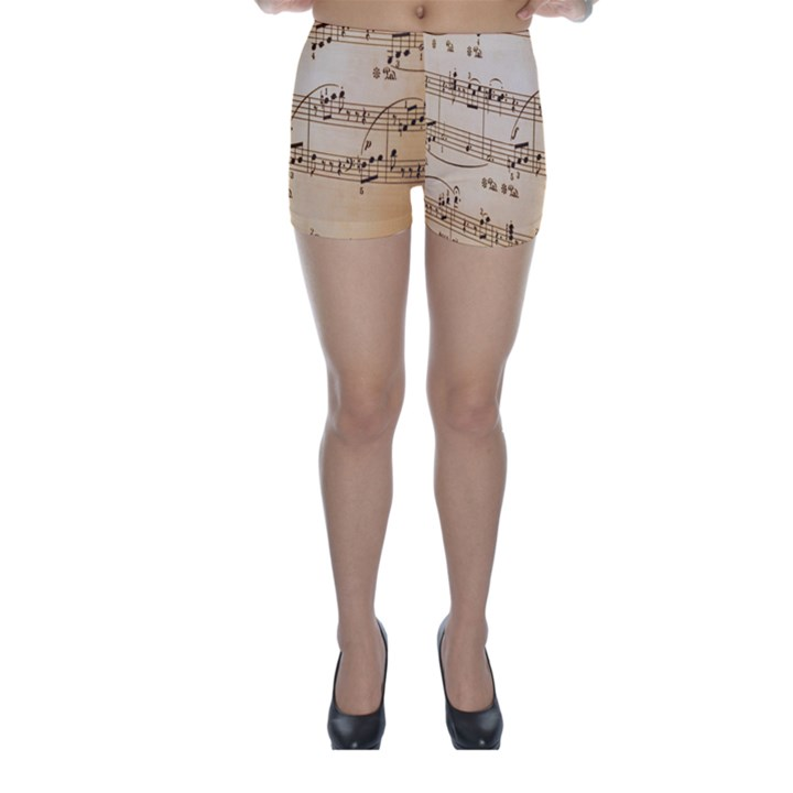 Music Notes Background Skinny Shorts