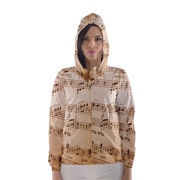 Music Notes Background Hooded Wind Breaker (Women)