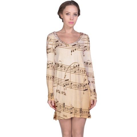 Music Notes Background Long Sleeve Nightdress