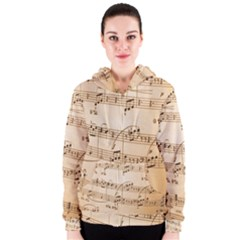 Music Notes Background Women s Zipper Hoodie