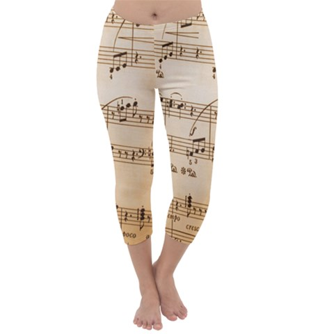 Music Notes Background Capri Winter Leggings