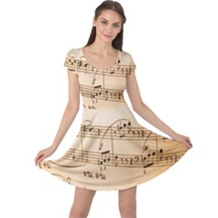 Music Notes Background Cap Sleeve Dresses