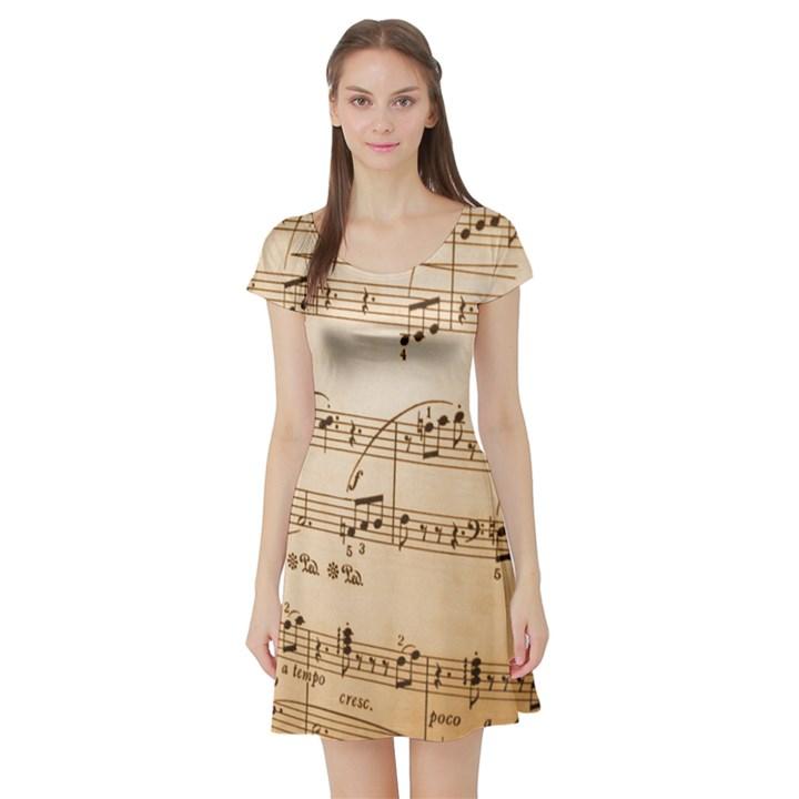 Music Notes Background Short Sleeve Skater Dress