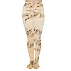 Music Notes Background Women s Tights