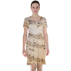 Music Notes Background Short Sleeve Nightdress